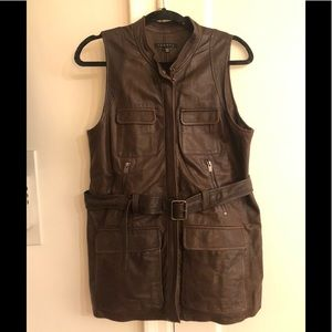 Military trend leather vest from Theory